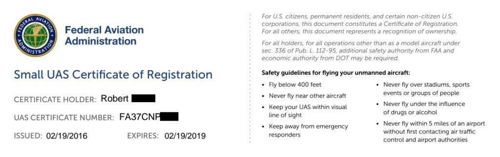 FAA Drone Registration Certificate