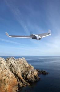 parrot disco with fpv flying above cliff