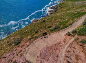 picture of 2 people on a bluff, taken with zerotech dobby pocket drone