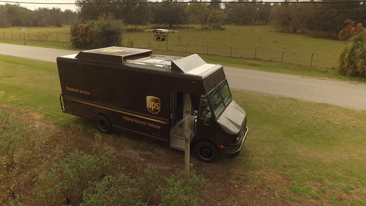 ups residential drone delivery truck