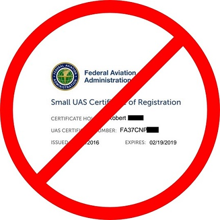 drone registry appeal image, a certificate inside a circle with a line through it
