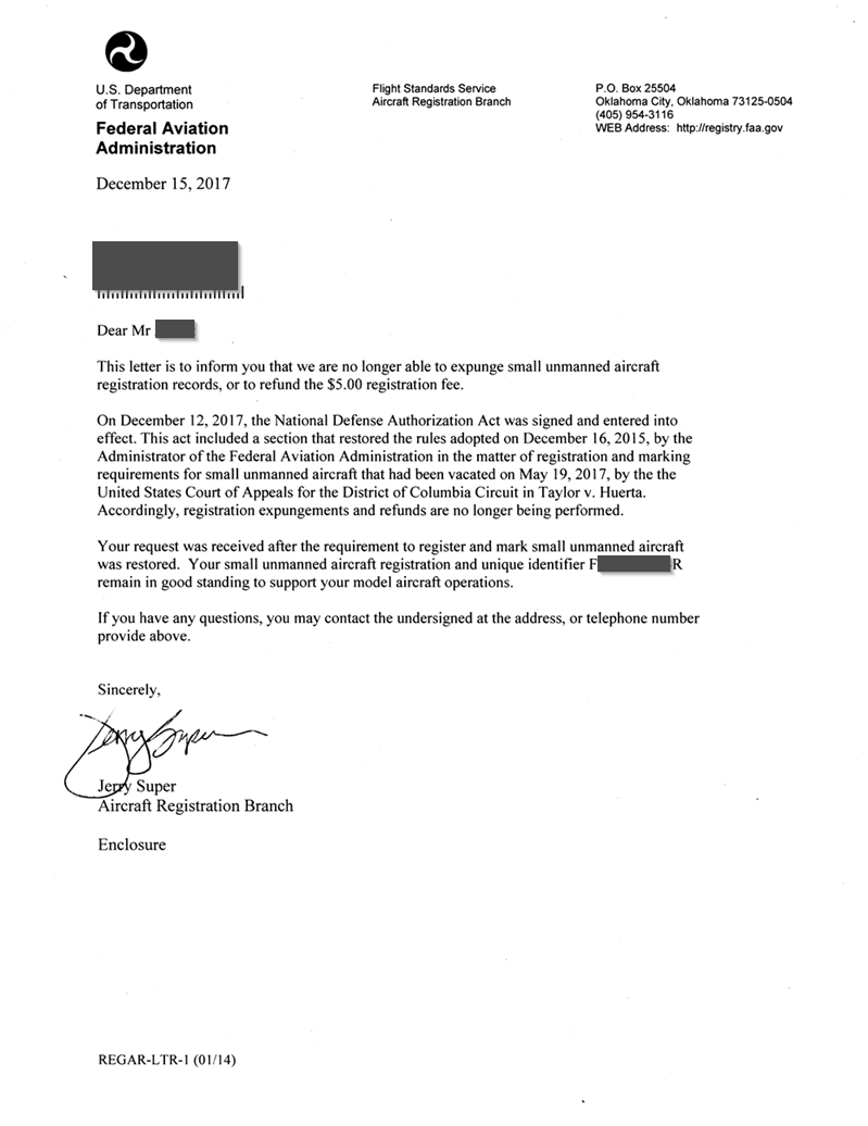 FAA's denial letter of a request to expunge drone registry info