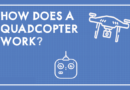 "image with a blueprint background, a white drone, controller and the text ""how does a quadcopter work"""