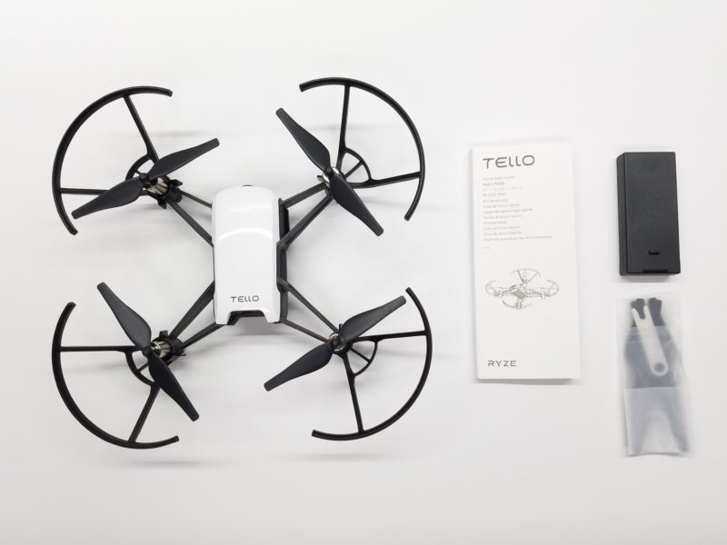 ryze tello drone, instruction manual, battery, extra props & prop removal tool