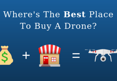 """blue background blog title with the text, """"Where's the best place to buy a drone?"""" with a graphic below showing a money symbol, a store and a drone"""