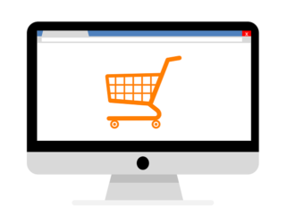 a graphic of a computer screen showing the image of a shopping cart