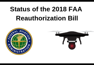 image of the FAA seal next to a drone and the text, Status of the 2018 Reauthorization Bill